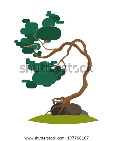 Cartoon Crooked Pine Tree On Transparent Background