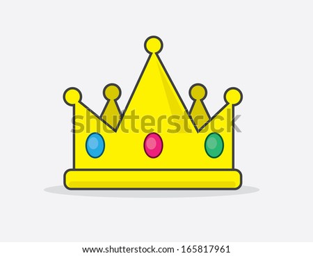 Cartoon crown with embedded jewels  - stock vector