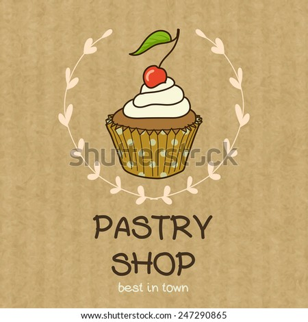 Cartoon cupcake with cherry on top. Hand drawn doodle muffin in floral frame isolated on brown kraft paper background. - stock vector