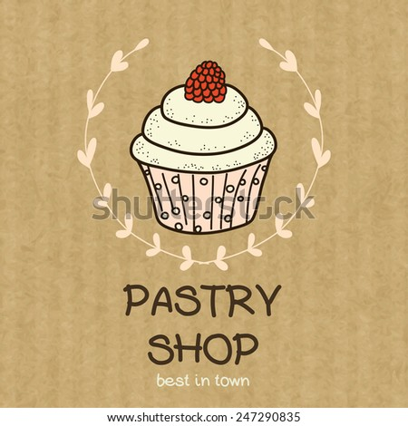 Cartoon cupcake with raspberry on top. Hand drawn doodle muffin in floral frame isolated on brown kraft paper background. - stock vector