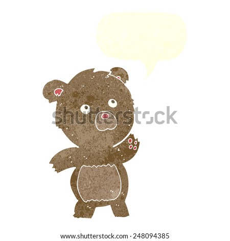 cartoon curious teddy bear with speech bubble - stock vector