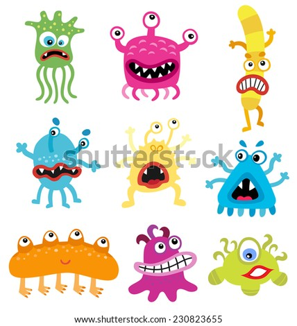 Cartoon cute and funny monsters and bacterias.  Vector microbes isolated on white.