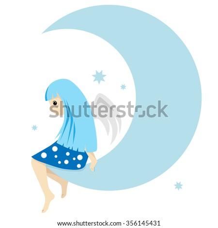 Cartoon cute Angel on the moon with stars. Vector illustration - stock vector
