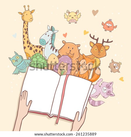 Cartoon cute animals, hands holding fairy tale book with space for your text - stock vector