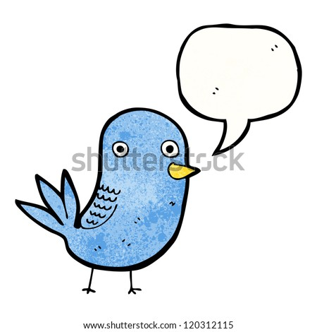 cartoon cute bird with speech bubble - stock vector