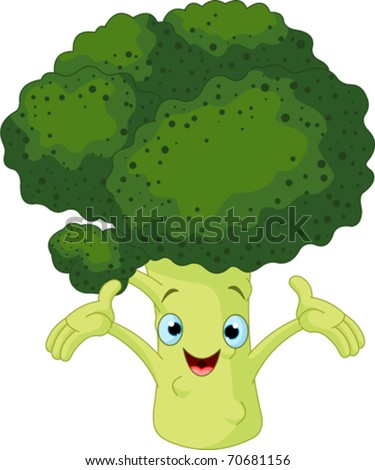 Cartoon cute Broccoli presenting something