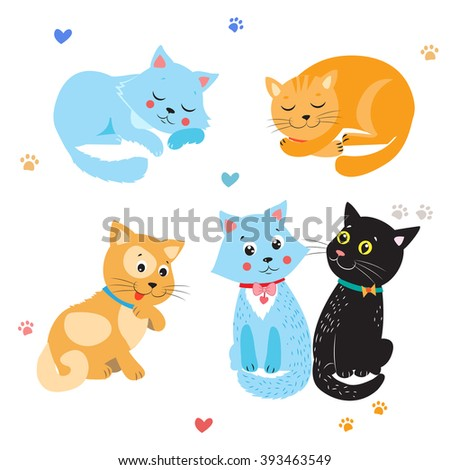Cartoon Cute Cats Vector Set. Various Kittens On White Background. Sleeping  And Sitting Cat. - stock vector