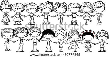 cartoon cute children holding hands - stock vector