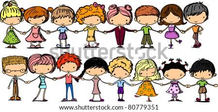cartoon cute children holding hands stock photo photo vector rh shutterstock com children holding hands clipart parent holding childrens hand clipart