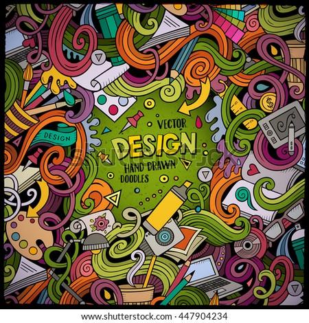 Cartoon Cute Doodles Hand Drawn Design Stock Vector