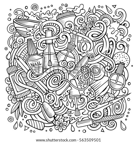 Coffee tea doodle background vector paisley stock vector for Nail salon coloring pages