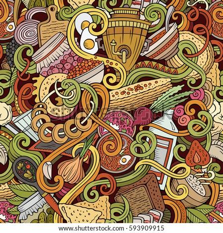 Cartoon cute doodles hand drawn russian stock vector for Art of russian cuisine