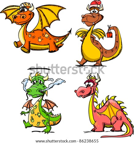 Cartoon cute dragon, a symbol 2012
