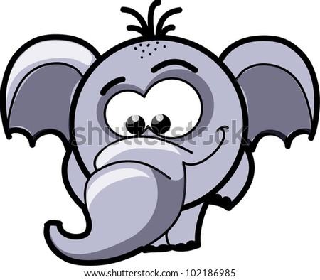 Cartoon cute elephant, vector - stock vector