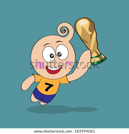 cartoon cute football, soccer player happiness with trophy world cup - stock vector