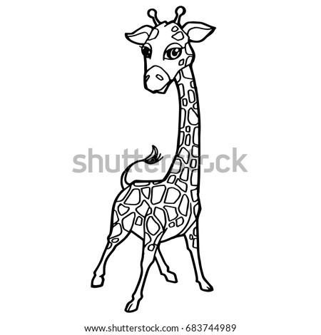 Cartoon Cute Giraffe Coloring Page Vector Illustration