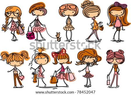 cartoon cute girl fashionista - stock vector