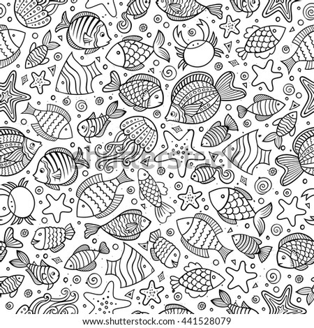 Cartoon cute hand drawn sea life seamless pattern. Line art sketchy detailed, with lots of objects background. Endless funny vector illustration. - stock vector