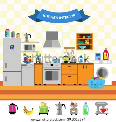 Cartoon Cute Kitchen Interior Flat Design Style Household Appliances Fridge Oven