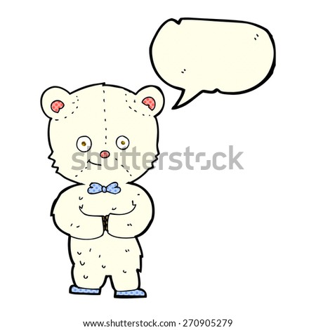 cartoon cute little bear with speech bubble - stock vector