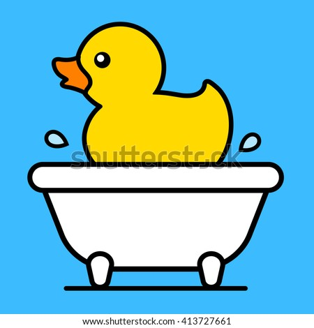 Cartoon cute little yellow rubber duck floating in a bathtub with splashing water droplets, vector illustration - stock vector