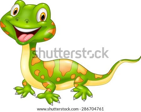 Cartoon cute lizard. - stock vector