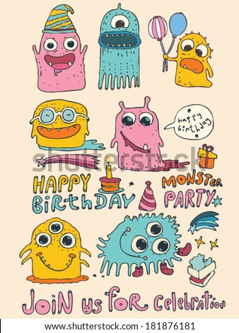 Cartoon cute monsters, monster party card design. vector illustration