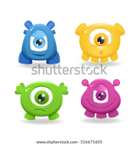 Cartoon cute monsters on white background - stock vector