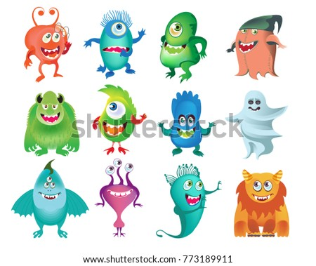 Cartoon cute  monsters set, isolated on white background Design for print, party decoration, t-shirt. Vector illustration.