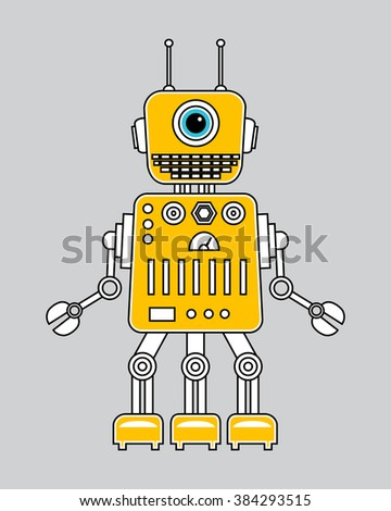 Cartoon cute robot. Colorful Toy. Vector character - stock vector