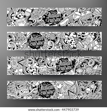 Cartoon cute sketchy vector hand drawn doodles italian food corporate identity. 4 horizontal line art banners design. Templates set - stock vector