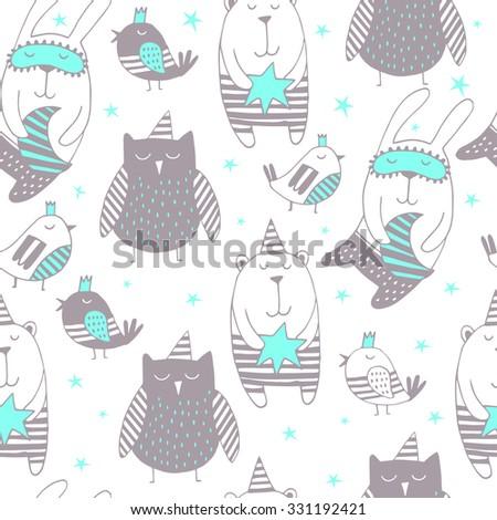 Cartoon cute sleepy animals. Good Night background.Seamless background. - stock vector