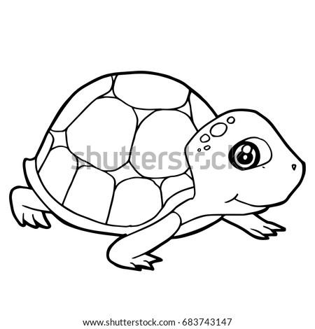 Cartoon Cute Turtle Coloring Page Vector Stock Vector 683743147