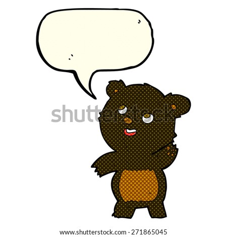 cartoon cute waving black bear teddy with speech bubble - stock vector