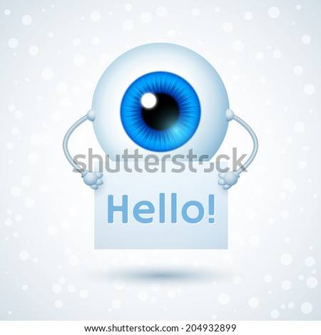 Cartoon Cyber Eye Holding Paper Sheet with Lettering Hello. Vector Character - stock vector
