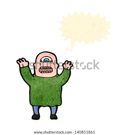 cartoon cyclops - stock vector