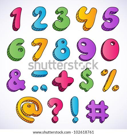Cartoon 3d numbers set. - stock vector