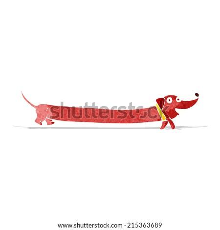 cartoon dachshund - stock vector