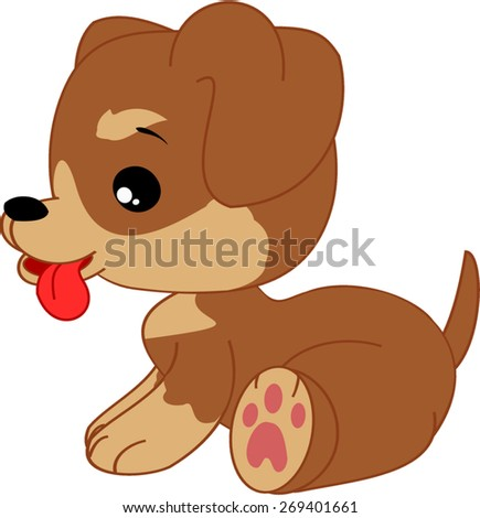 Cartoon dachshund boy puppy.   - stock vector