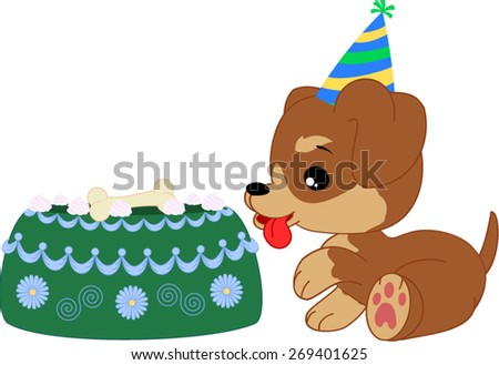Cartoon dachshund boy puppy with birthday cake.   - stock vector