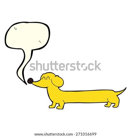 cartoon dachshund with speech bubble - stock vector