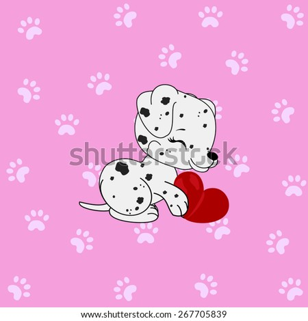 Cartoon dalmatian girl with paw figured background - stock vector