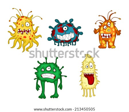 Cartoon danger monsters and demons set isolated on white background. Suitable for halloween and humor design - stock vector