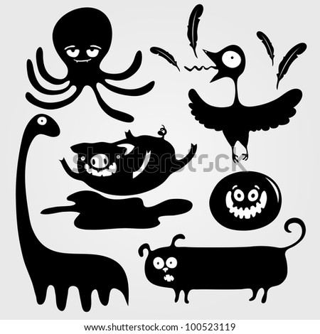 Cartoon decorative silhouettes of animals, vector illustration - stock vector
