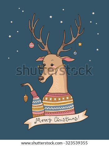 Cartoon deer in sweater decorates their horns. Christmas card