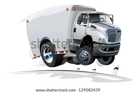 Cartoon delivery / cargo truck - stock vector