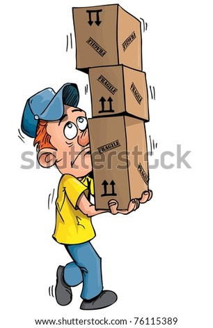 Cartoon delivery man carrying a stack of boxes. Isolated on white - stock vector