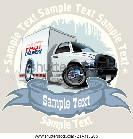 Cartoon delivery truck on grunge background. Available EPS-10 vector format separated by groups and layers with transparency effects for one-click repaint. - stock vector