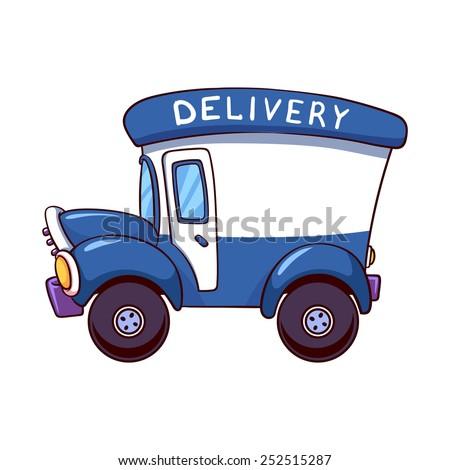 cartoon delivery truck vector clipart illustration stock vector rh shutterstock com Delivery Truck Logo delivery truck clipart black and white