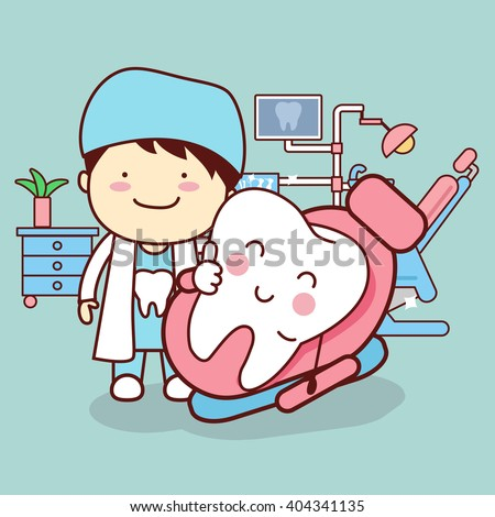 cartoon dentist or doctor with tooth sit on the chair and thumb up, great for dental care concept - stock vector